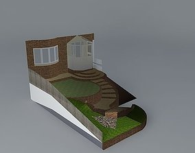 Front garden steep sloped access 3D