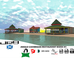 Anglo Caribbean Restaurant Kiosk Landmark 3D asset
