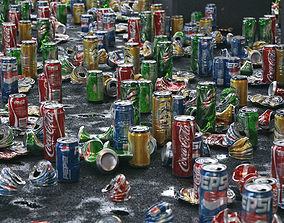 3D model Cans Garbage 24 Types - PBR AssetKit