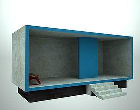 Bus stop concrete 3D asset