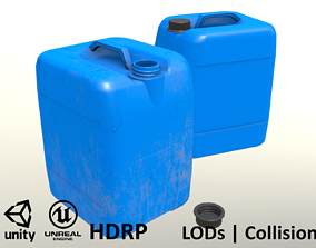 Canister Blue Clean and Dirty - Unity - HDRP - 3D model 1