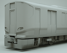 game-ready JR 323 Japan Commuter Train 3D Model Untextured
