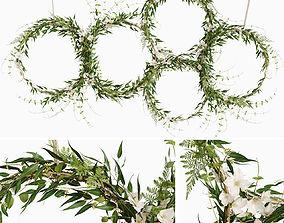 3D Green wreaths