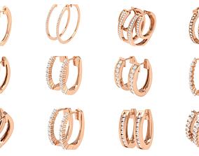 155 Women Diamond Hoops round earrings 3dm stl render