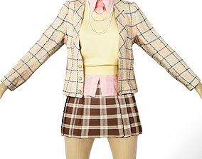 3D model Outfit Vintage Clueless Pink Yellow Clothing 2