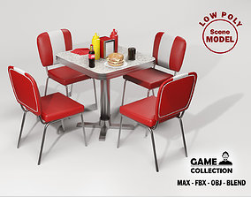American dining Table 1 3D asset