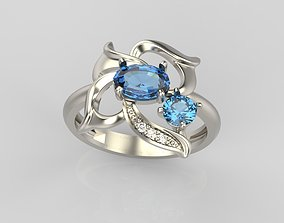 3D print model Ring with gem and diamonds