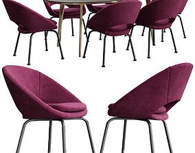 Orb Velvet Dining Chair Westelm 3D model