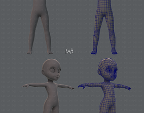 Base mesh girl and boy V01 3D female