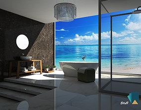 3D model Modern bathroom on the beach