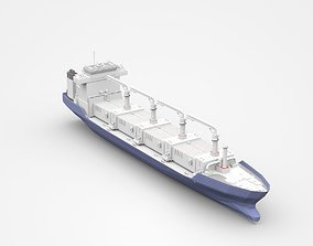 3D Large Blue Freight Ship