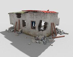 3D asset low poly destroyed building 5