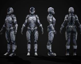 3D asset Female Sci-fi Soldier
