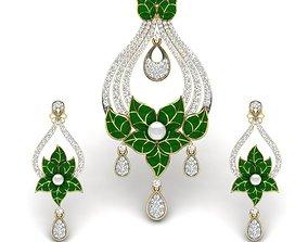 Women pearl pendant-earrings set 3dm render