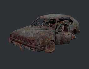 Apocalyptic Damaged Destroyed Vehicle Car Game 3D asset 2