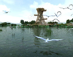 3D model Bird watching platform---Directly render after