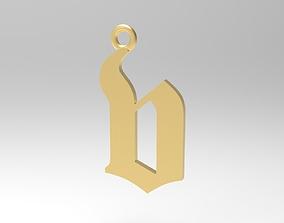 Gothic Alphabets Little V Pendants 3D printable model