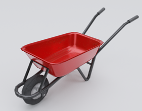 Wheelbarrow soil 3D model PBR