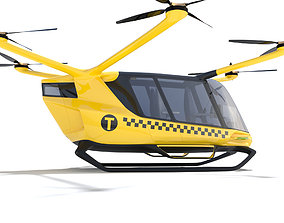 Hydrogen Powered Yellow Taxi Drone 3D