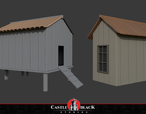 Wooden House 3D model game-ready PBR