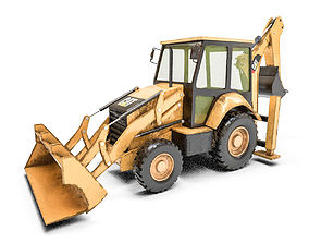 3D model realtime Backhoe Loader low poly PBR