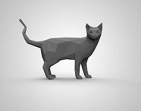 low poly cat 3D print model animal