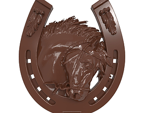 Horse head and horseshoe bas relief for CNC 3D print model