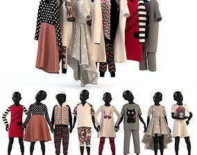 Childrens clothing on mannequins and hangers 3D model