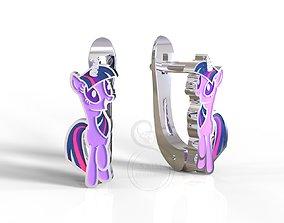 3D printable model Twilight Sparkle pony kid earrings