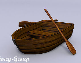 Wooden Boat with oars 3D asset