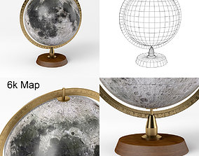 3D model Lunar Globe with Wooden Stand and Brass 3