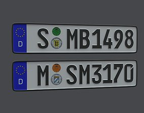 3D asset game-ready License Plate Germany EU