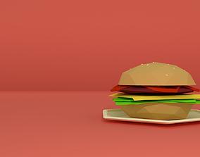 Lowpoly Burger 3D asset