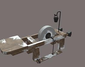 Grindstone from skyrim 3D model wooden
