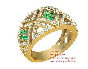 2082 Color Diamon Women ring 3D printable model