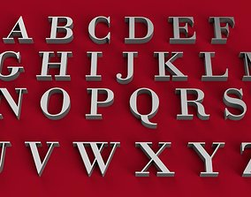 BODONI font uppercase and lowercase 3D letters STL file