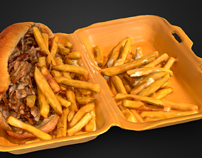 Kebab Sandwich and French Fries 3D asset