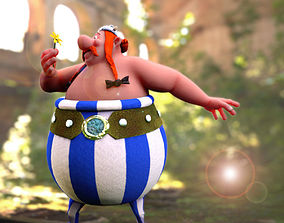 Obelix with UV map and texture 3D printable model