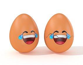 Egg Cracked Emoji N013 3D asset