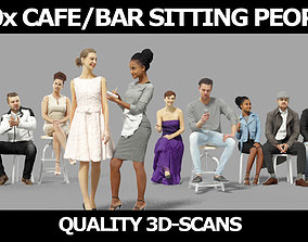 3D model 10x Sitting Woman Casual Man Cafeteria Waitress 1