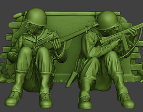 American soldiers ww2 Cover Down A10 3D printable model