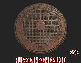 3D asset low-poly Russian sewer lid - 3