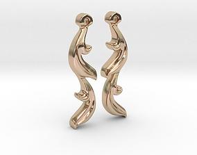 3D printable model leaf earrings