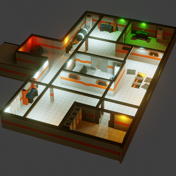 Modular Sci Fi  Lab - Lowpoly - Game ready