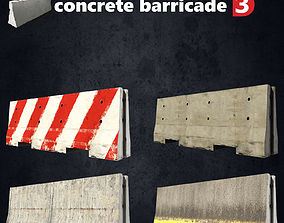 Concrete Barricade 3D low poly game-ready