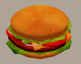Burger 3D model game-ready
