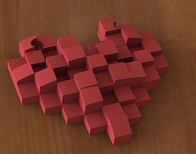 3D printable model Pixel heart pendant