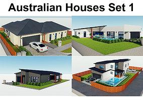 3D model Australian Houses Set 1