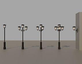 5x classical street lights 3D model