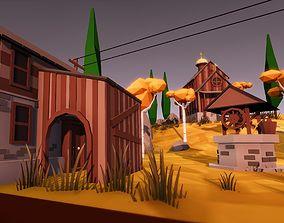Low Poly Mini Village 3D asset